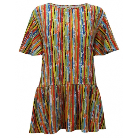 Colorful Stripes Ruffle Sleeve Tunic Top, by A Walk In The Park®