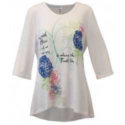 Women's 'To See Our Heart' Long Sleeve Inspirational Swing Top, Printed on White, by Live Who You Are®