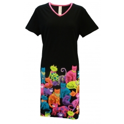Women's 'Cat Club' V-Neck Sleep Shirt Nightgown, by Needy Me Sleepwear®